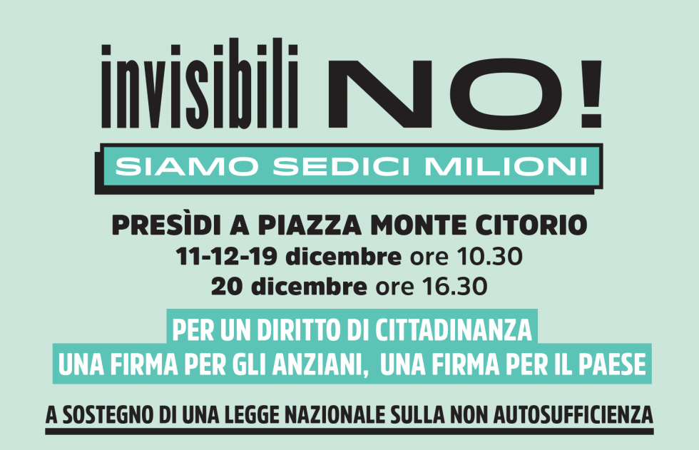 INVISIBILI NO! Siamo sedici milioni. Presidi dei pensionati in piazza Montecitorio